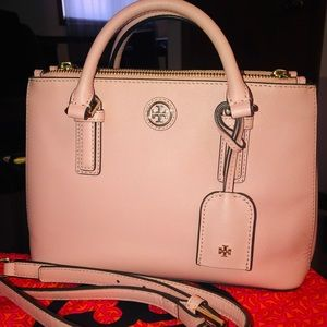 Tory Burch Robinson Micro Double Zip Tote Rose